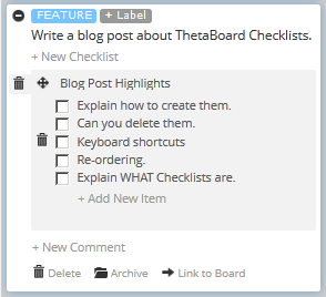 ThetaBoard Checklists